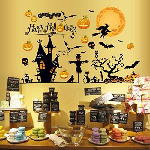 NXDA Wall Sticker, Halloween Scary Monsters Ghost Indoor Bat Mural Decor Removable Terror Decal for Household Room Decorations 140cm X 92cm (C) -