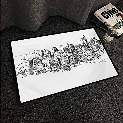 HCCJLCKS Entrance Door mat New York Sketchy New York Historical Western Center Downtown Modern USA Illustration Print Non-Slip Door mat pad Machine can be Washed W20 xL31 Grey White (Commercial Cleaning Services Of Western New York)