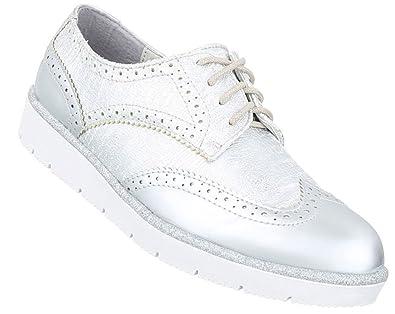 Damen Halbschuhe Schuhe Schnürer Elegant Silber 40 LDOkp