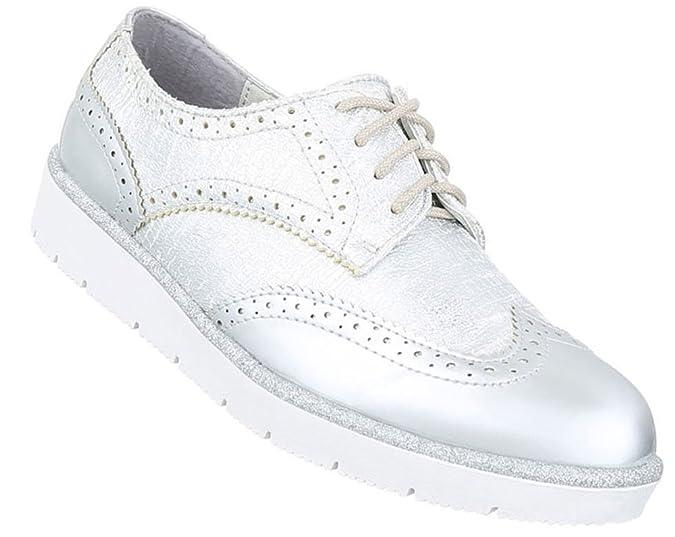 Damen Halbschuhe Schuhe Schnürer Elegant Silber 39 fsgax