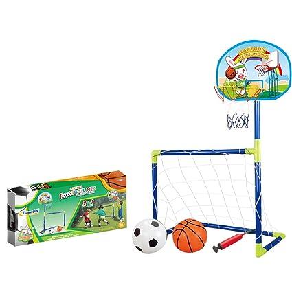 Mecotech Sport Juguete para niños: 2 en 1 portería de fútbol Set + Canasta de Baloncesto Soporte Juego Inclusive portería de fútbol (porterías Bomba, ...