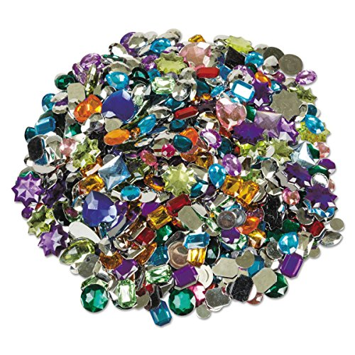 Set 1 Classroom Pack (Chenille Kraft 3584 Gemstones Classroom Pack, Acrylic, 1 lbs., Assorted Colors/Sizes)