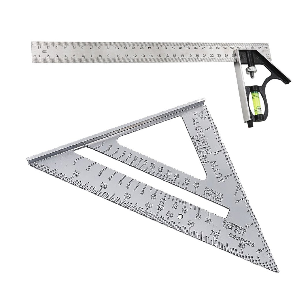 Fityle 300mm (12'') Right Angle Ruler And Stainless Steel Square Measure Right