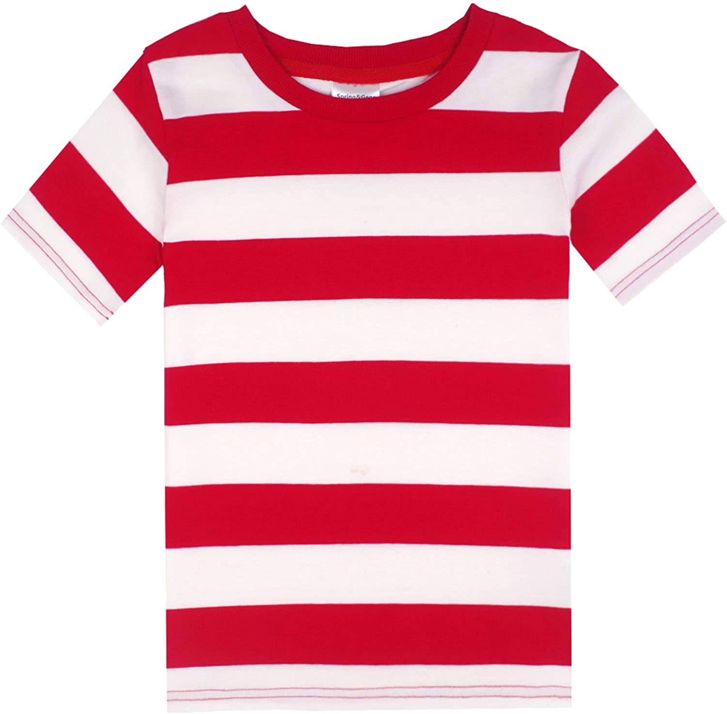 Spring/&Gege Boys Cotton Short Sleeve Striped Crew Neck T-Shirt