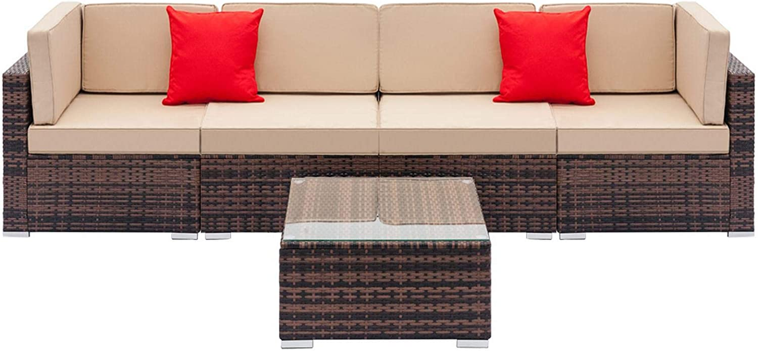 MAG.AL Convertible Sectional Weaving Rattan Sofa Set, 2pcs Corner Sofas & 2pcs Single Sofas & 1 pcs Coffee Table Sectional Couches, for Home Theater