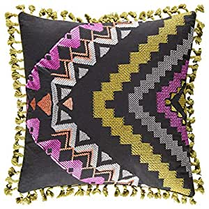 KAS Australia Rari Geometric Cushion - Black and Yellow