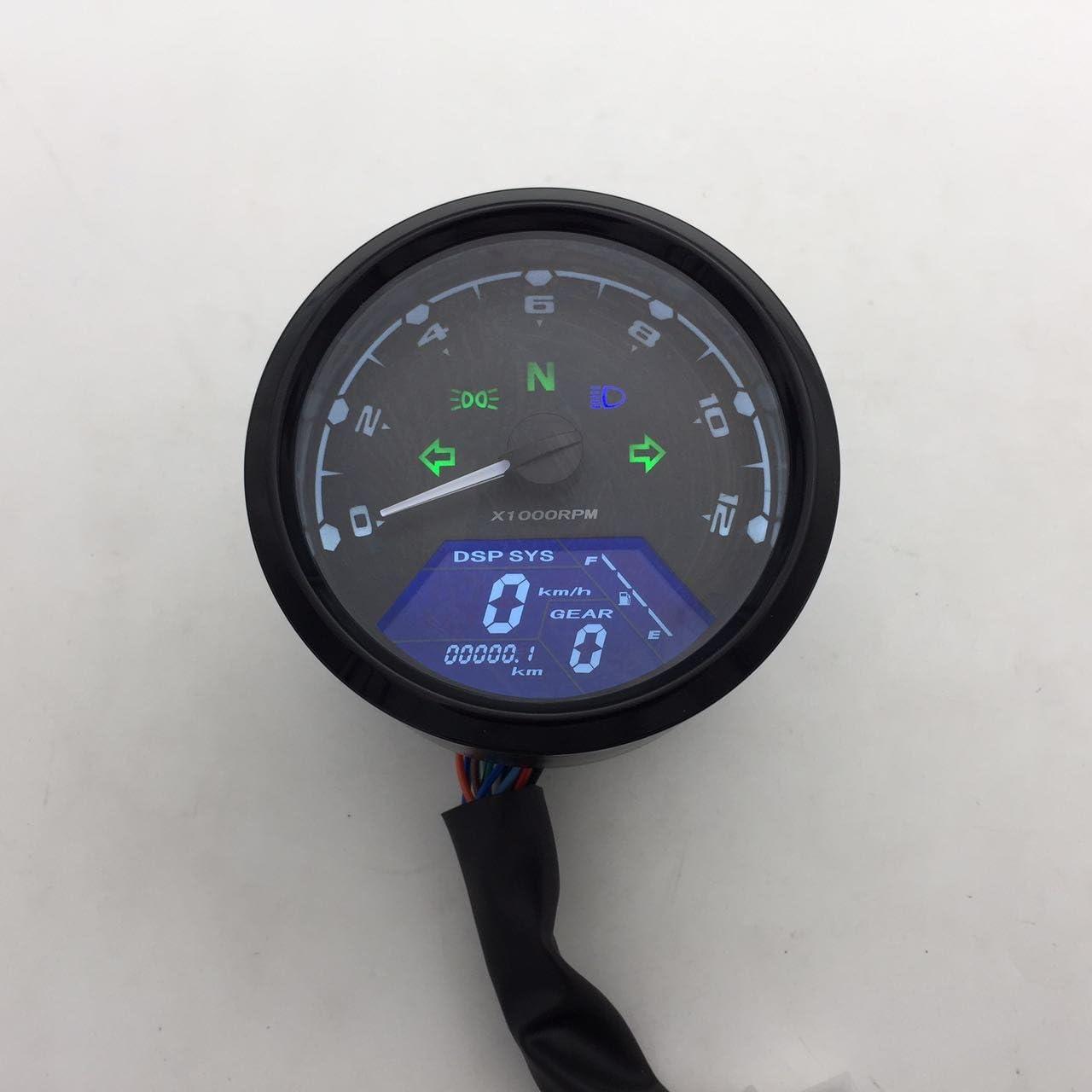 12000 Rpm Motorrad Universal Lcd Signal Tachometer Kilometerzähler Kreuzer Chopper Cafe Racer Alte Schule Auto