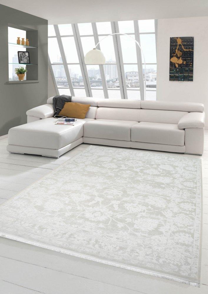 Merinos Vintage Teppich modern Wohnzimmerteppich Designteppich mit Fransen in Creme Größe 160x230 cm