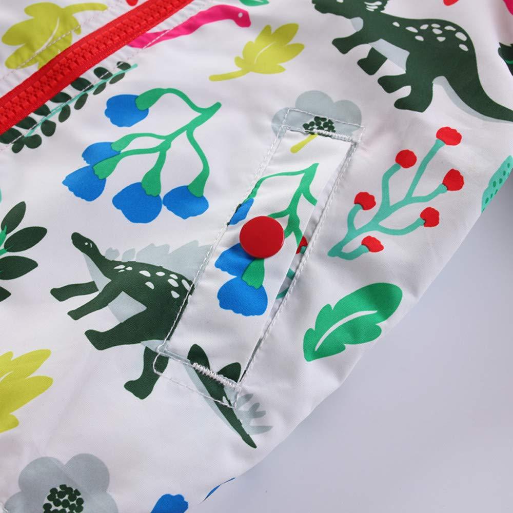 QSEVEN Unisex Children Windbreaker Jacket Dinosaur Print Hooded Waterproof Raincoats Long Sleeve Lightweight Warm Autumn Winter