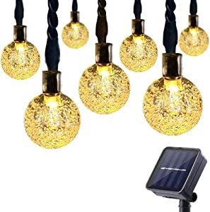 ECOWHO Solar String Lights Outdoor with 8 Modes and Memory Function, 25ft 40 LED Waterproof Solar Patio Globe String Lights for Garden Patio Wedding Party Holiday (Warm White )