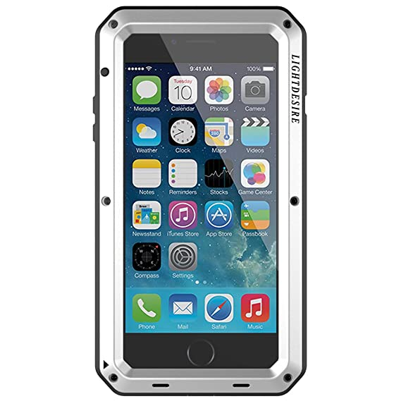 super cute f340d 983b2 iPhone 8 iPhone 7 Case LIGHTDESIRE Aluminum Alloy Protective Metal Extreme  Water Resistant Shockproof Military Bumper Heavy Duty Cover Shell [Silver]  ...