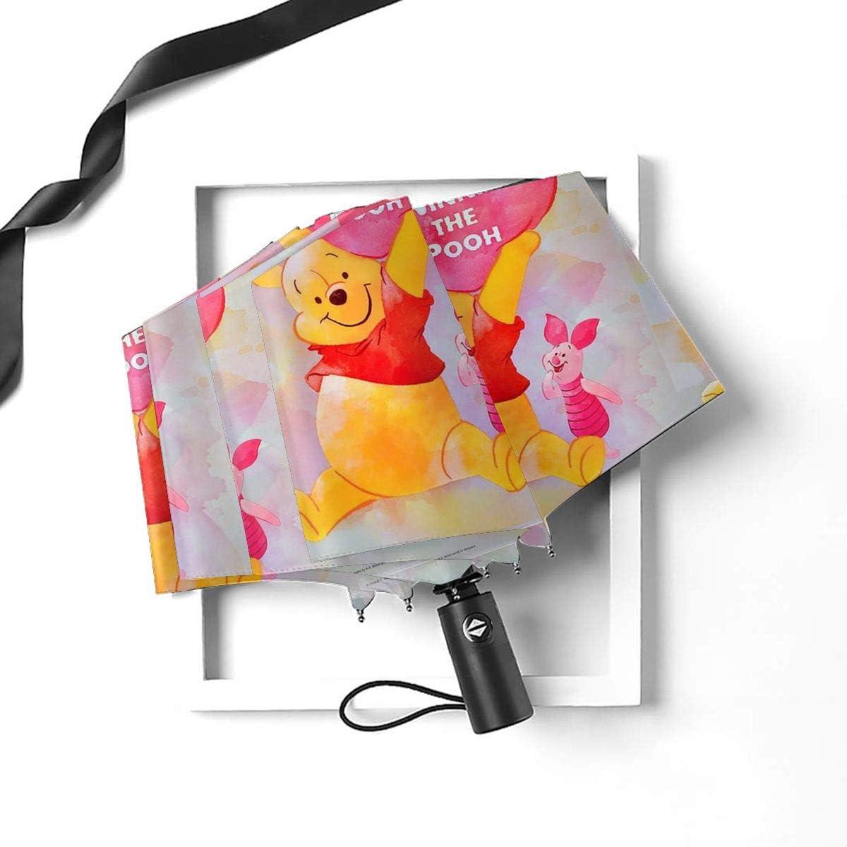 Windproof Travel Umbrella Happy Winnie The Pooh Compact Folding Umbrella Automatic Open//Close