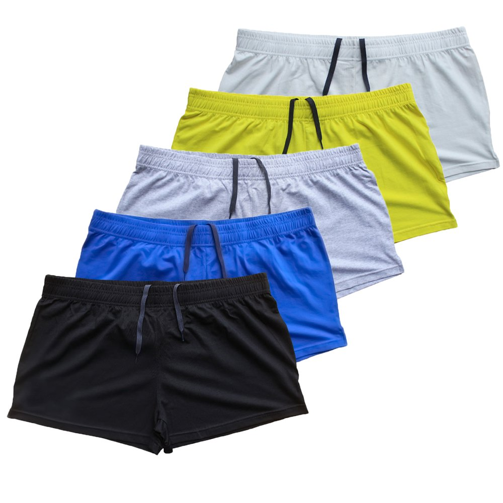 MUSCLE ALIVE Mens Bodybuilding Shorts 3'' Inseam Cotton 5 Pcs Per Pack Size XL by MUSCLE ALIVE