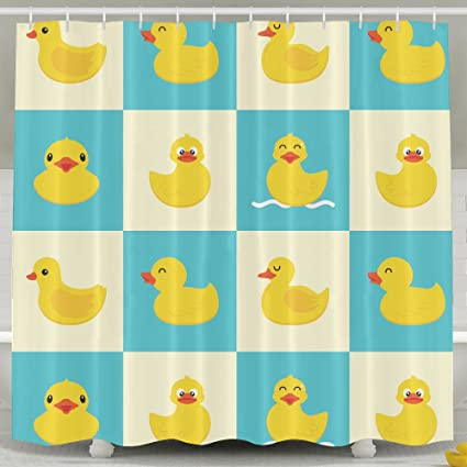 Lovely Funny Rubber Duck Bath Shower Curtain Fabric Bathroom Curtain Set With Hooks