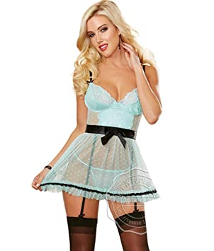 1ad4a1ad926 DFL-SX Womens Plus Size Sexy Dots Lace Babydoll Lingerie Set Maid apron  Nightdress