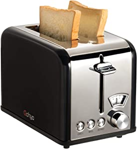 Gohyo 2 Slice Toaster 100% Stainless Steel with Wide Slots & Removable Crumb Tray for Bread & Bagels (Black)