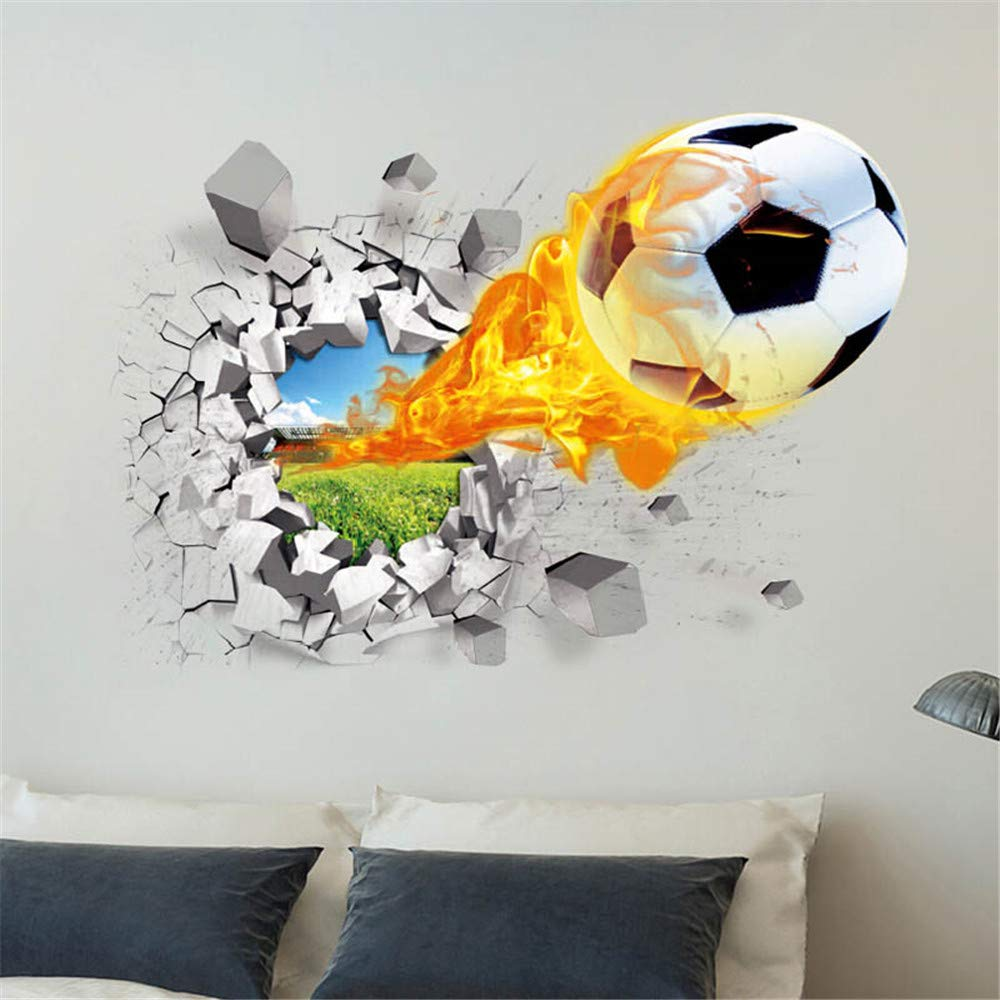FANGLIAN 3D Soccer Wall Decals Removable Soccer Wall Stickers Football Sports Wall Murals Decorations for Kids Rooms Perfect for Boys Soccer Wall Décor Peel and Stick Sports Wall Decals