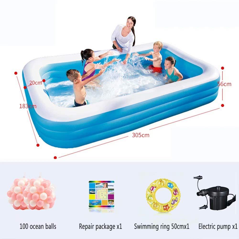 WeißAN-1 Aufblasbarer Pool - 3 gleiche Ringkonstruktion (geeignet für 1-7 Personen) Außengröße  201x150x51cm   Innengröße  261x110x51cm A9