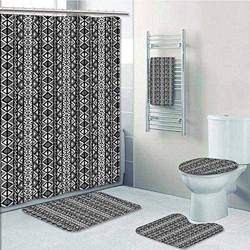 5-piece Bathroom Set-Retro Boho Aztec in with Western Navajo Effects Folk Design Grey Black Prints decorate the bathroom,1-Shower Curtain,3-Mats,1-Bath towel(Large size)