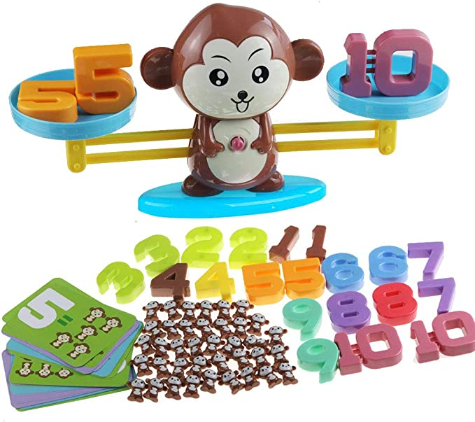 pozzolanas Counting Toys,Monkey Balance Counting Math Games,Educational STEM Toys Toddler Games,Balance Measuring Fun Gift for Girls Boys Kids