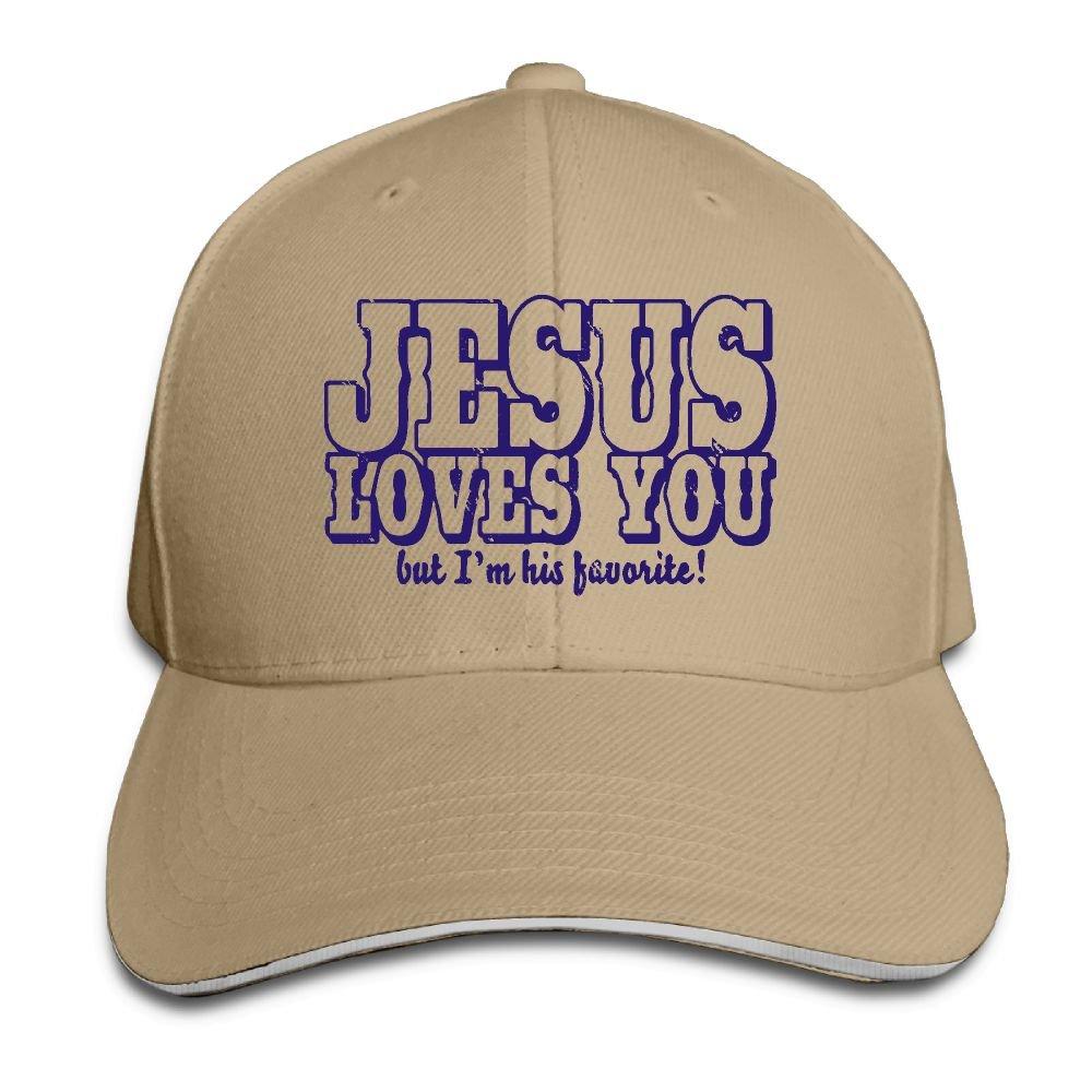 Men's Women's Jesus Loves You But I'm His Favorite Cotton Adjustable Peaked Baseball Cap Adult Sandwich Hat