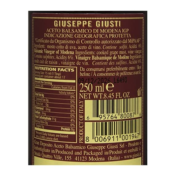 Giuseppe Giusti Riccardo Balsamic Vinegar, Product of Italy - Aged 12 Years - Simfonia, IGP Certified 8.45fl.oz / 250ml 3  Made from the must of cooked sundried grapes and aged wine vinegar, it ages in barrels. Unfortunately there are some flaws in regulations so it is allowed to dilute and add different ingredients to the IGP Balsamic Vinegar, the ones selected by Bellina are strictly made from only must and wine vinegar and are made in a traditional manner that respects the product.  Taste profile: Aroma and flavor recalls plum jam, red fruit, honey and vanilla.  Pairings: Fresh pasta such as ravioli, beef, soft cheese, fresh fruit and dessert.