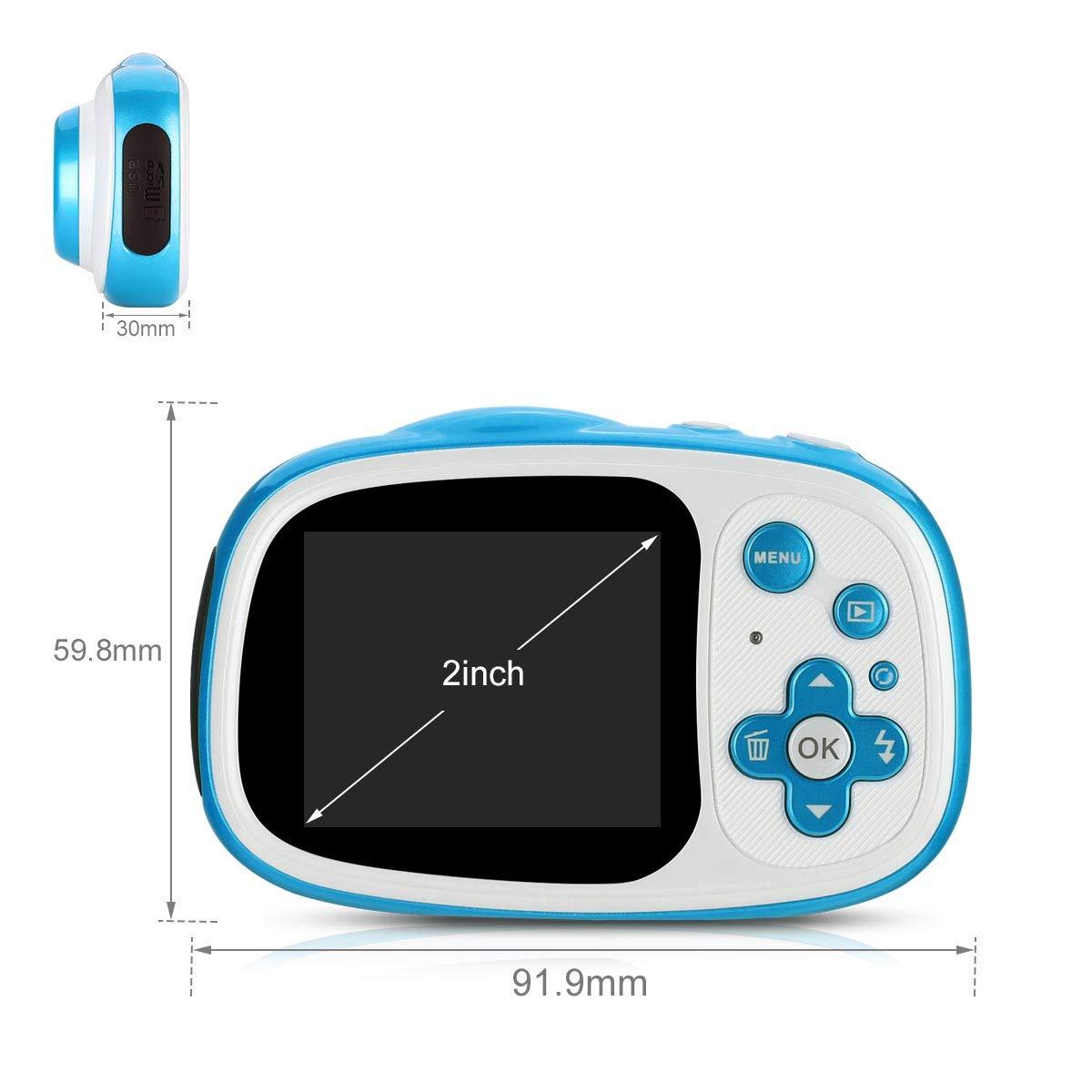 Blau Fascol Kinderkamera Wasserdichte Digitale Kamera f/ür Kinder Videokamera mit 32GB TF-Karte //HD 1080// 8 Megapixel// 2-Zoll-LCD