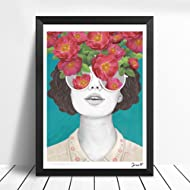 Lightclub Nordic Sunglasses Flower Girl Canvas Frameless Indoor Wall Painting Decoration Size 21cm x 30cm