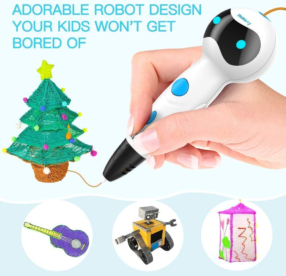 First Robot 3D Drawing Printing Printer Pen with Voice Prompts PLA Filament Refills Automatic Feeding Nulaxy 3D Pen Best Birthday Holiday Gifts Toys to Inspire Kids Teens Creativity