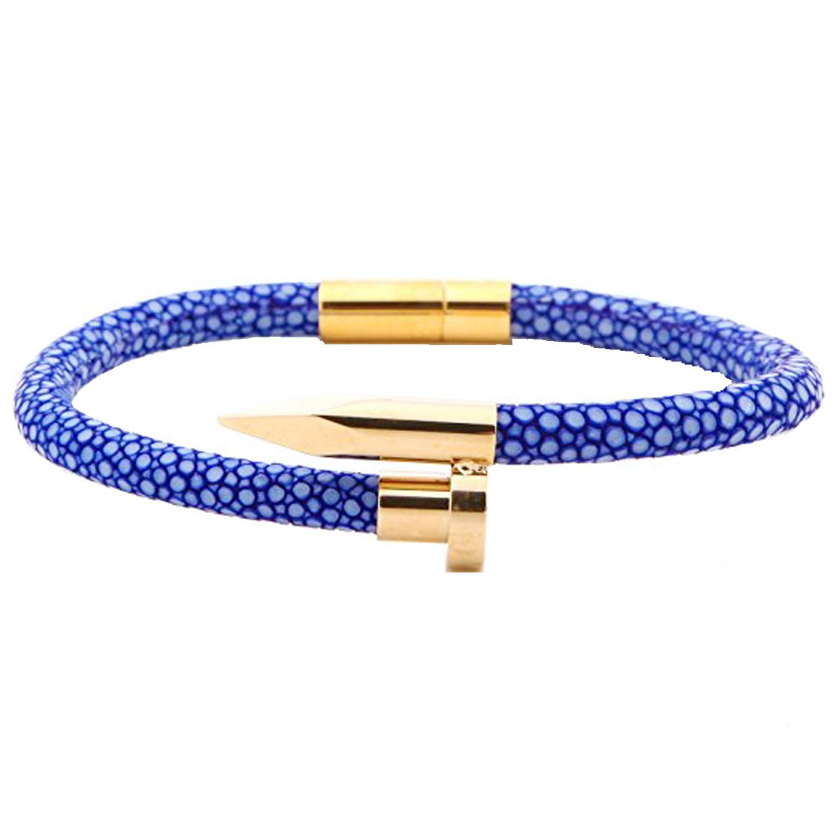 Blue real stingray leather cord with 18K gold pvd plating nail bracelet (8 inches)