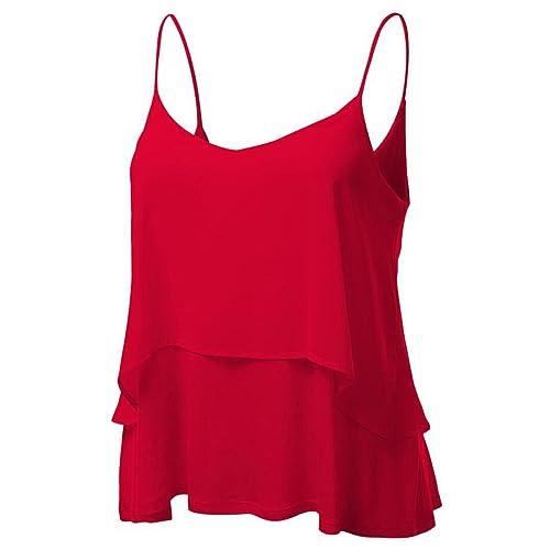 Hello vita Mujeres Estrellas Blusa Sin Mangas Del Chaleco Camiseta Tanque Top (X-Large, rojo)