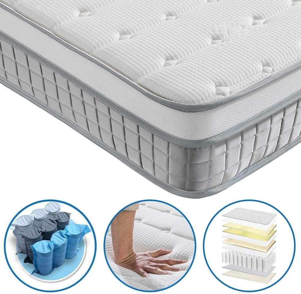 Twin Mattress – Vesgantti 10.1 Inch Innerspring Multilayer Hybrid Single Mattress – Ergonomic Design with Breathable Foam and Pocket Spring Mattress Twin Size – Box Top Series Medium Plush Feel
