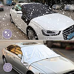 Premium Windshield Snow Cover, Onever Car Windshield Snow Cover Sun Cover Tarp With Magnetic Edges Remove Ice Frost Easily