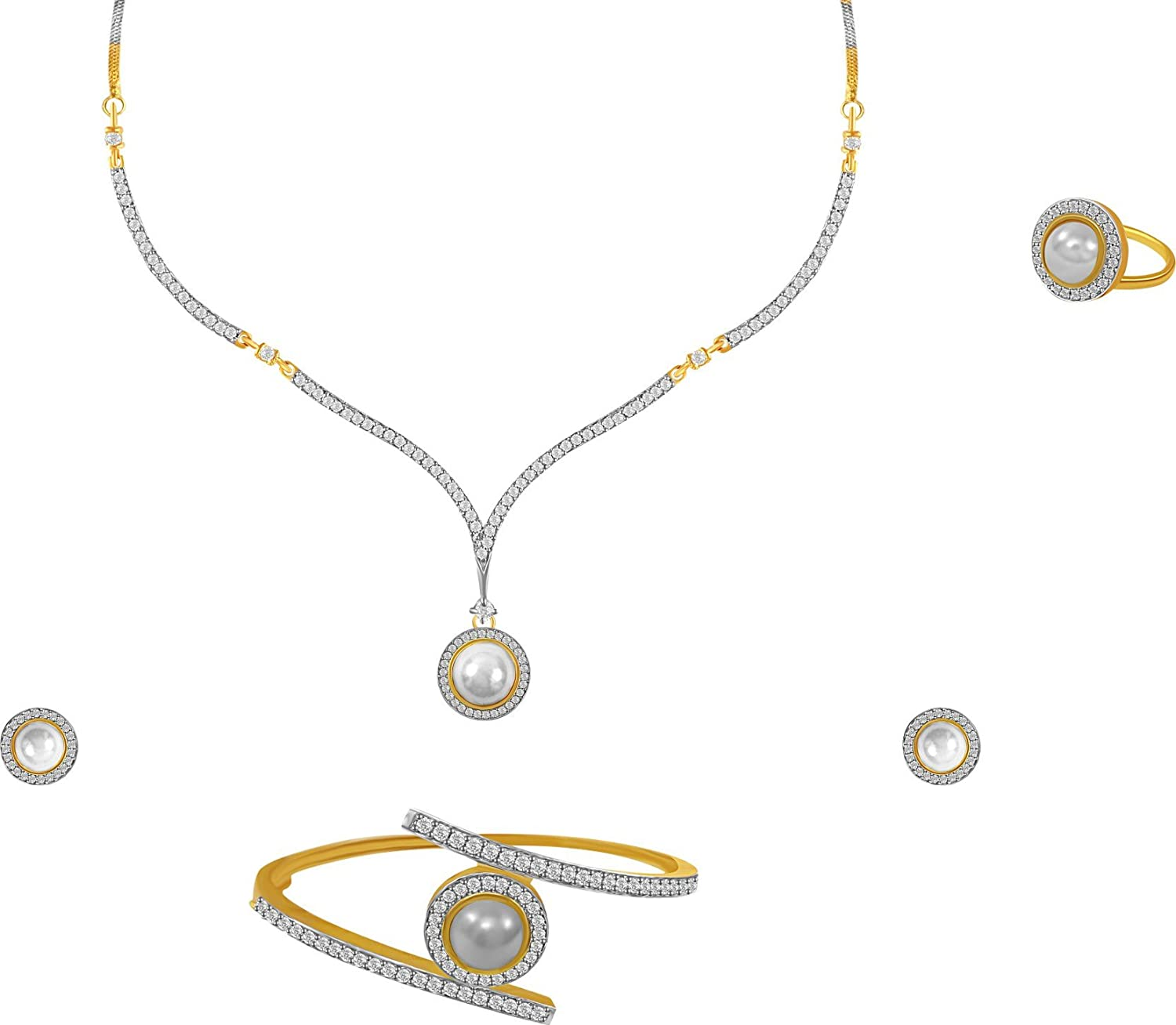 Buy Aabhu American Diamond Pearl Studded Pendant Necklace Set With