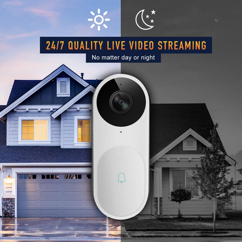 Video Doorbell, A.I. Wifi HD Camera Doorbell with Facial Recognition, Voice Interaction, Night Vision, Motion Detection, Wireless Doorbell, Push Notification, Compatible with Alexa Echo Show by NETVUE (Image #2)