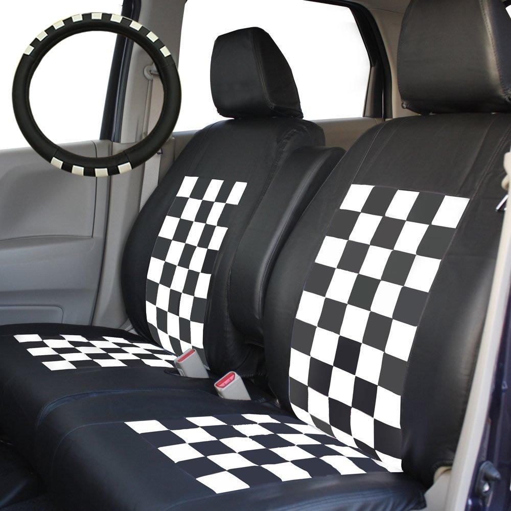 三菱 H82系ekワゴン専用シートカバー スクープチェック ブラック×ホワイト B00GSHZ33S