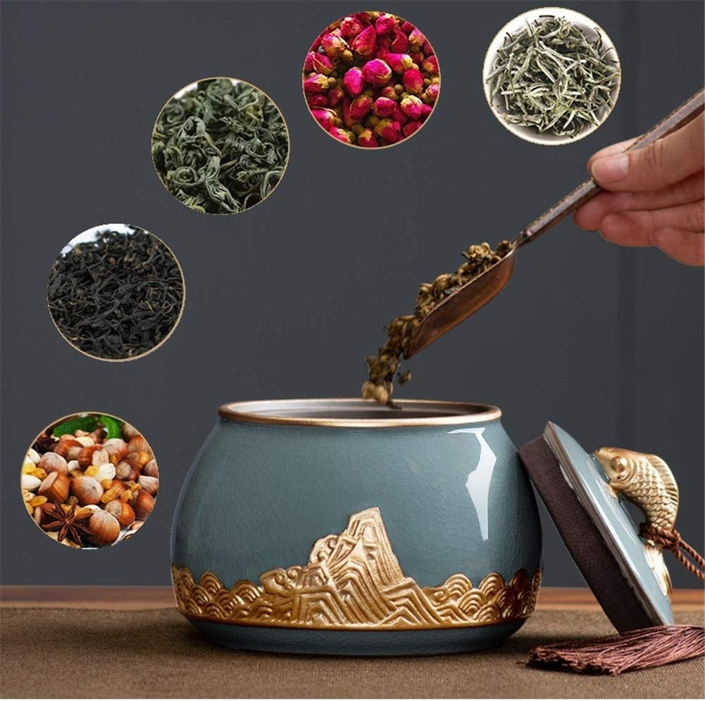 5x5inch RYQS Sealing Ceramic Tea Canister,Portable Handmade Spices Candy Coffee Cookie Nuts Cereal Storage Caddy A 13.6x12cm