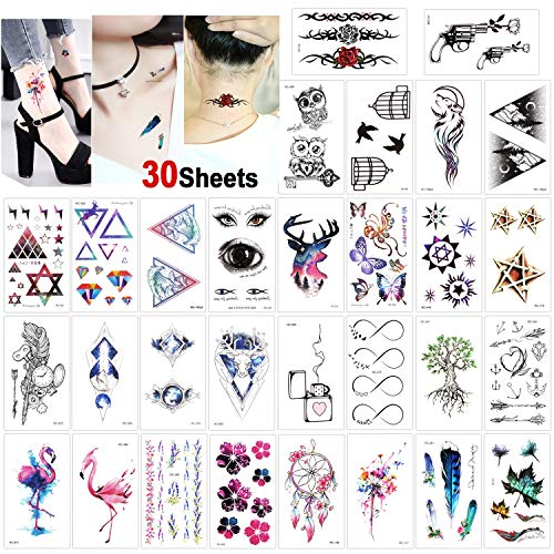 Konsait 30 Sheets Temporary Tattoos for Women Girls Adult Fake Tattoo Transfer Body Art Stickers Waterproof Black Tiny Temporary Tattoo for Women Hand Neck Wrist Arm Shoulder Chest Back Legs