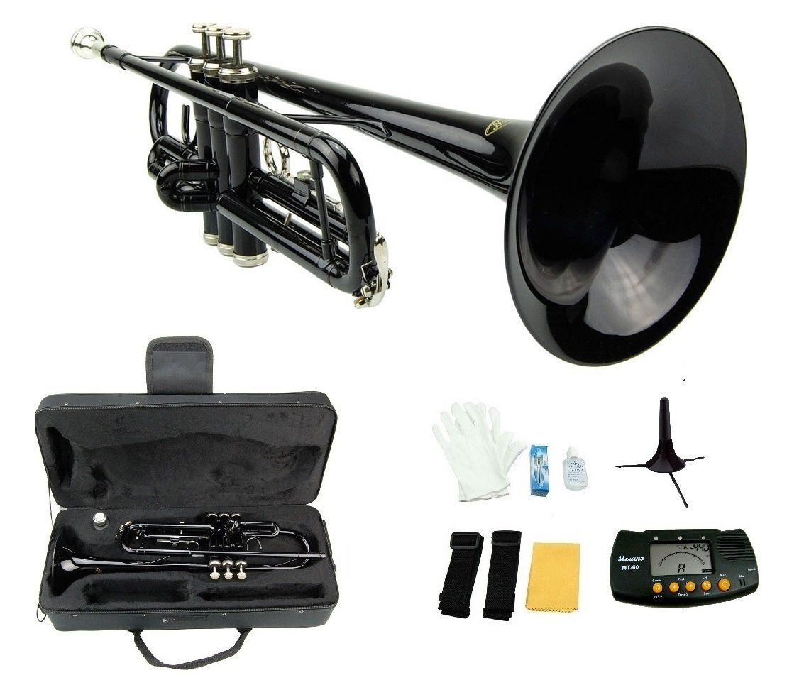 Merano B Flat BLACK / Silver Trumpet with Case+Mouth Piece+Valve Oil+Metro Tuner+Stand by Merano
