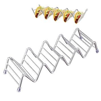 Soporte para taco de acero inoxidable, soporte para taco con capacidad para 2 o 3