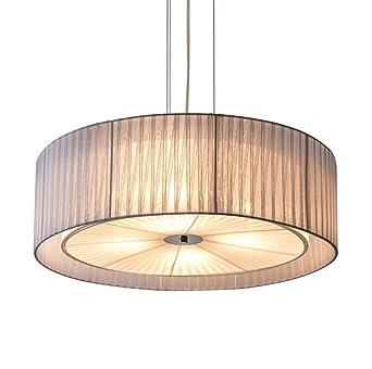 Pendelleuchte Deckenleuchte Hhenverstellbar Stoff Rund Pendel Lampe Stoffschirm 60Cm E27 Led Decke Leuchten Flach Jungen Moderne