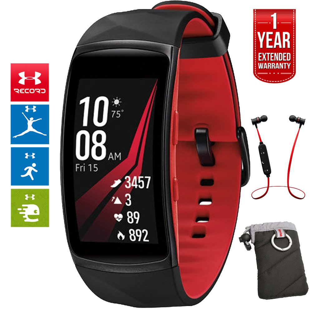 Samsung Gear Fit2 Pro Fitness Smartwatch - Red, Small (SM-R365NZRNXAR) + Fusion Bluetooth Headphones + Gear Black Jacket Case + 1 Year Extended Warranty by Beach Camera (Image #1)