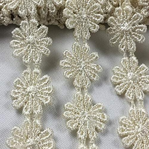 3 Yds Crochet Daisy Venice Applique Lace Sewing Trim Craft Ribbons Blue