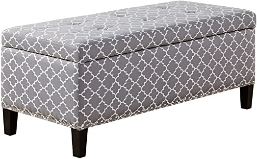 ModHaus Living Modern Gray Quatrefoil Upholstered Button Tufted Storage Bench Ottoman