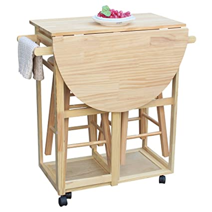 Amazon Com 3pcs Kitchen Island Cart Set Portable Rolling