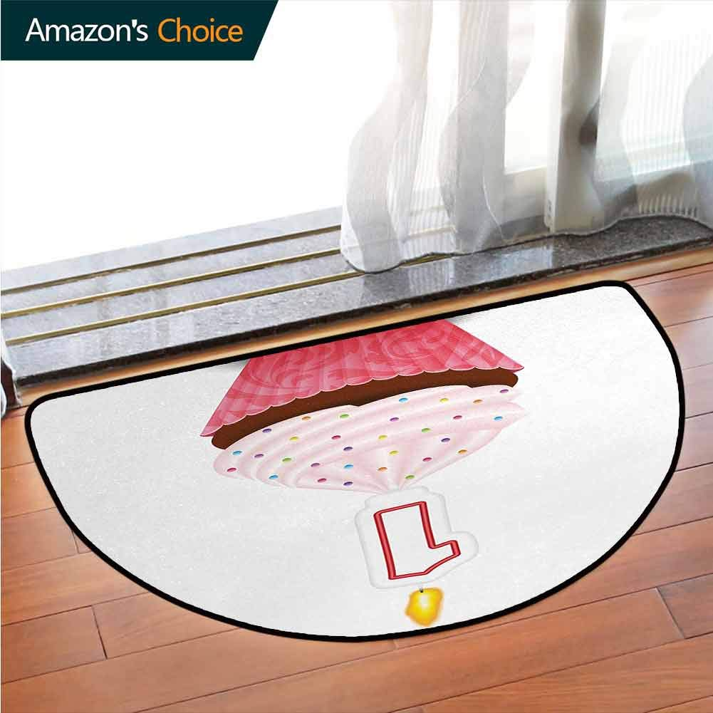 1st Birthday Traditional Printed Semi-Circular Carpet, Kitchen Cuisine Inspired Pastry Delicious Cupcake Party with Candle Printed Door Mat Bedroom Kitchen Living Room Area Rug W39.4 x R23.6 Inch by DESPKONMATS