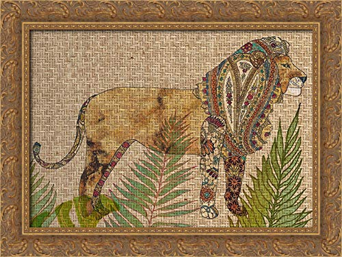 (Rattan Jungle I 24x20 Gold Ornate Wood Framed Canvas Art by Zarris, Chariklia)