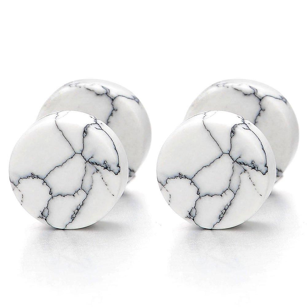 2pcs 10MM White Marble Stud Earrings Men Women, Steel Cheater Fake Ear Plugs Gauges Illusion Tunnel COOLSTEELANDBEYOND ME-827-CA