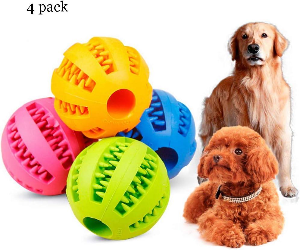 Juguetes blandos para perros, divertidos juguetes elásticos interactivos, bola de gato, dientes de perro, juguetes para masticar, bola de goma resistente a los alimentos, tamaño 2, paquete de 4,S: Amazon.es: Deportes y