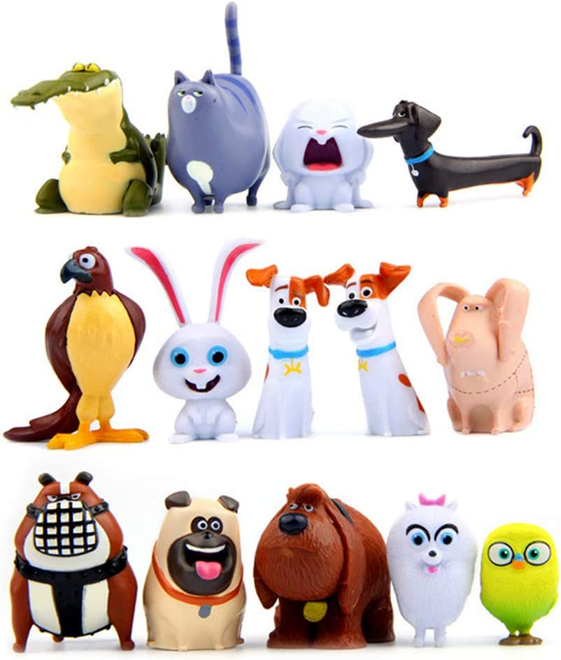14 Pcs Cartoon Puppy Pets Movie Toy Figures Collection Gift Animal Cupake Toppers Party Supplies Birthday